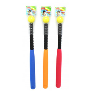 Fun Sport Foam Baseball Bat With Ball 24 Inch ~ Colour Vary