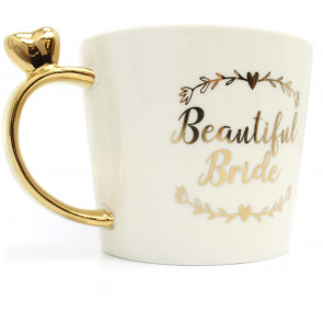 Gorgeous White Creamic Decorative Gold Effect Wedding Mug - Beautiful Bride