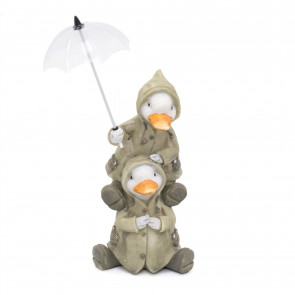 Cute Puddle Duck Family With Umbrella Ornament | Indoor Outdoor Two Ducks And Brolly Statue | Bird Sculpture Garden Decorations - Two Ducks