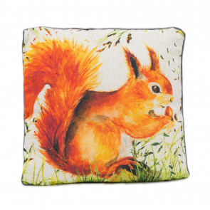 Autumn Squirrel Scatter Cushion | Fabric Filled Sofa Cushion | Bed Throw Pillow With Cover - 45cm