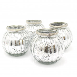 Pack of 4 Silver Mercury Effect Tealight Holder   13cm x 11.5cm Ribbed Candle Pot    Wedding Table Decorations Centerpiece Settings