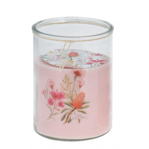 Large Botanical Jar Candle 16.5cm x 13.5cm – Jumbo Multi Wick Floral Candle in Glass Jar ~ Pink (Fragrance may vary)