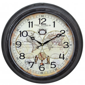 41cm Vintage Old World Atlas Wall Clock | Metal Antique Style World Map Clock | Decorative Wall Clocks