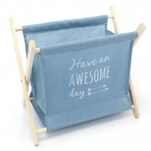 Fold Up Magazine Rack Book Basket Newspaper Holder - Children's Nursery Storage Bag Toy Box Room Tidy Organiser ~ Light Blue | Awesome Day