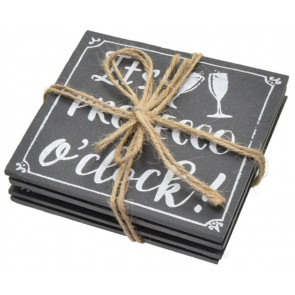 Stylish Set of Prosecco Slate Drinks Coasters - It's Prosecco O'clock