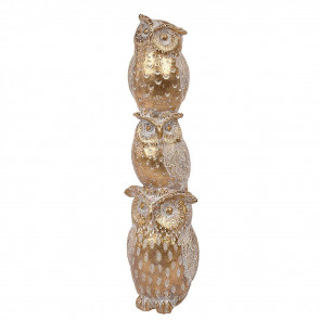Gold Effect Three Owl Bird Stack Ornament - Animal Figurines Statue