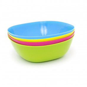 Set Of 4 Coloured Plastic Cereal Bowls   Square Picnic Camping Snack Bowl Set   Outdoor Serving Bowls