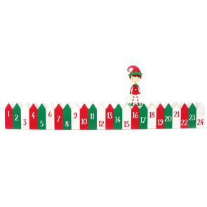 24 Day Countdown To Christmas Elf Calendar Block ~ Xmas Advent Decoration