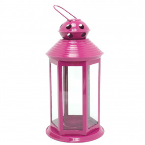 Colourful Neon Festival Party Garden Metal Tealight Lantern 25cm - Large Votive Tea Light Candle Holder ~ Pink