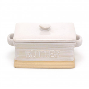 Traditional Stoneware Butter Dish With Lid   Butter Holder Kitchen Storage   Retro Butter Serving Plate And Cover