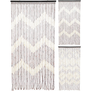Natural Beaded Bamboo Hanging Patterned Fly Insect Screen Door Curtain 90x180cm ~ Design Varies