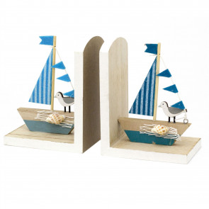 Wooden Yacht Bookends Nautical Decoration - Sailboat Book Stoppers For Shelves - Home Decoration
