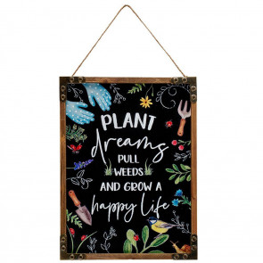 Plant Dreams Wooden Framed Hanging Plaque - Decorative Wall Art Sign