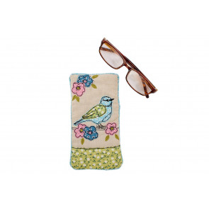 Fabric Floral Birds Spectacle Glasses Case ~ Lovely Sunglasses Holder Pouch