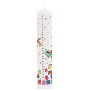 Traditional Countdown To Christmas Advent Dinner Pillar Candle - Santa's Sleigh And Reindeer Design
