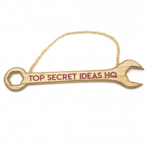 Wooden Spanner Hanging Plaque | Novelty Tool Wrench Sign, Garage, Man Cave, Shed Sign ~ Top Secret Ideas HQ