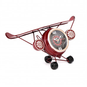 Metal Aeroplane Decorative Bedside Desk Office Mantel Clock Ornament ~ Red