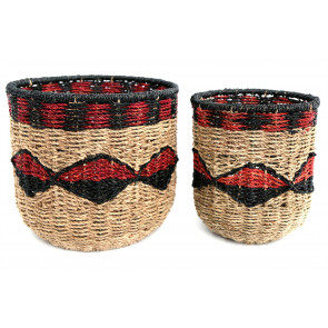 Stunning Set Of 2 Black and Red Storage Baskets ~ Large Woven Seagrass Basket
