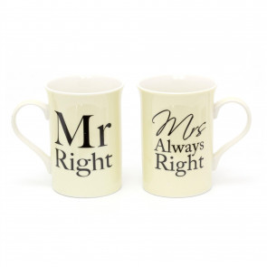 Mr Right And Mrs Always Right Coffee Mugs | Anniversary Engagement Wedding Gift Tea Cups | Fine China Couples Mug Cup