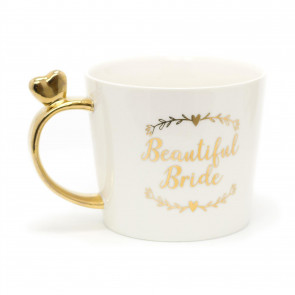 Elegant White And Gold Ceramic - Beautiful Bride Mug | Wedding Day Bridal Cup | Bride To Be Gifts