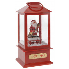 Musical Light Up LED Christmas Lantern Snow Globe Decoration ~ Santa