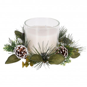 Large Christmas Wreath Candle Pot Decoration   Traditional Xmas Candle Ornament Table Centrepiece   White Wax