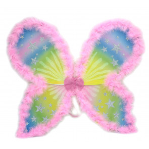 Dressing Up Fancy Dress Costume Outfit Accessory Glitter Stars Pink Fairy Wings
