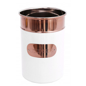 Striking Copper and White Kitchen Storage Utensil Holder