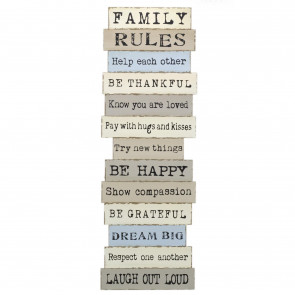 Extra Large 120cm Family Rules Sign Wood Wall Art | Jumbo Wooden Wall Plaque | Family Plaques With Quotes - Laugh Out Loud