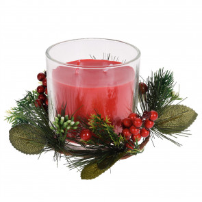 Large Christmas Wreath Candle Pot Decoration   Traditional Xmas Candle Ornament Table Centrepiece   Red Wax
