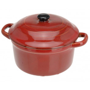 Ovenproof Ceramic Porcelain Pan Mini Casserole Oven Dish Cocotte With Lid 10cm - Red