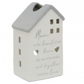 Mum Heart Of Our Home Ceramic Lantern | 3D House Tealight Candle Holder Keepsake | Ideal Mothers Day Gift