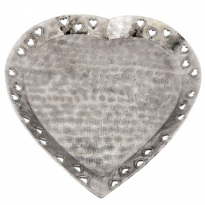 Stylish Decorative Silver Metal Cut Out Heart Dish With Hammered Detail ~ Perfume Jewellery Dish