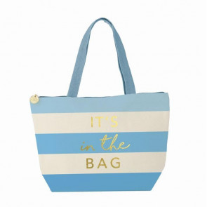Eat Now Think Later Insulated Thermal Lunch Tote Cooler Bag ~ Blue It's In The Bag