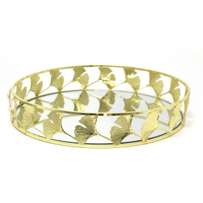 Stunning Gold Effect Lotus Flower Mirrored Tray | 30cm Decorative Candle Tray Holder - Perfume Display Organiser, Table Centrepiece Decorative Tray
