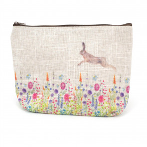 Floral Spring Rabbit Travel Cosmetic Makeup Bag | Toiletry Purse Holder Beauty Wash Bag Organiser Pouch | Hare Pencil Case Clutch Bag