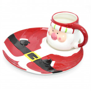 Festive Xmas Jolly Santa Ceramic Plate And Mug Set ~ Father Christmas Design
