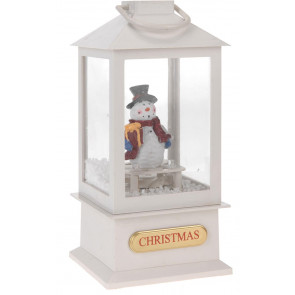Musical Light Up LED Christmas Lantern Snow Globe Decoration ~ Snowman