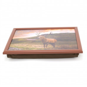 Majestic Stag Cushioned Lap Tray   Bean Bag Cushion Laptop Tray   Food Tray With Cushion Dinner Snacks Laptray