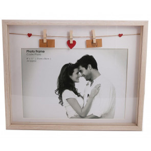 Clothes Line Wooden Box Picture Frame With Pegs For A4 Photo Print ~ I Love You