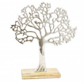 Silver Metal Tree Decorative Ornament On Wooden Base - Medium Tree Of Life Jewellery Stand - Silver Metal Tree Ornament On Mango Wood Base