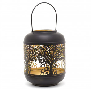 27cm Black Metal Tree Of Life Cut Out Hurricane Candle Lantern | Decorative Candle Holders For Home Garden Patio - Medium