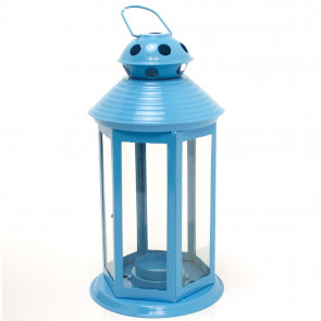 Colourful Neon Festival Party Garden Metal Tealight Lantern 25cm - Large Votive Tea Light Candle Holder ~ Blue