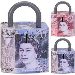 Pound Note Padlock Money Box Tin ~  Novelty Piggy Bank - Saving Pot Design Varies