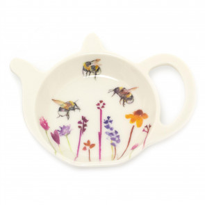 Busy Bee Floral Tea Bag Tidy Dish | Tea Bag Spoon Rest Kitchen Tidy | Melamine Used Teabag Holder