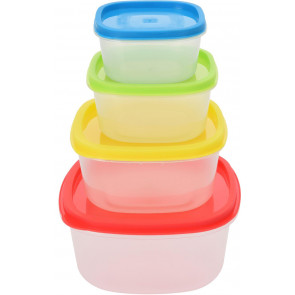 Set Of 4 Airtight Food Storage Containers With Lids Stackable Boxes - Square