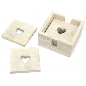 Set Of 6 Rustic White Washed Wooden Heart Table Drinks Coasters In Box