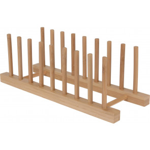 Bamboo Drying Dish Rack ~ Kitchen Plate Holder Drainer ~ Wooden Plate Rack Cupboard Organizer