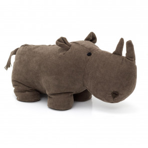 Adorable Chocolate Brown Rhinoceros Doorstop | Decorative Fabric Animal Door Stop | Novelty Rhino Wildlife Door Stopper