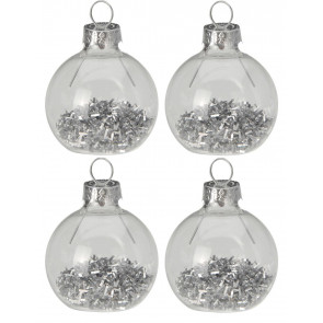 Set of 4 Glitter Bauble Christmas Wedding Dinner Table Name Place Card Holders - Silver